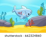 cute shark in the sea... | Shutterstock .eps vector #662324860