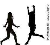 silhouettes of happy woman and... | Shutterstock .eps vector #662325040
