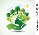 hands holding the green earth... | Shutterstock .eps vector #662332240