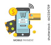 mobile payment concept with... | Shutterstock .eps vector #662334709