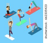 people in the yoga poses... | Shutterstock .eps vector #662335423