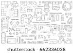 Set of furniture top view for apartments plan. The layout of the apartment design, technical drawing. Interior icon for bathrooms, living room, kitchen, bedroom, hallway . Vector illustration. | Shutterstock vector #662336038