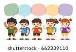 back to school cute kids go to...   Shutterstock .eps vector #662339110