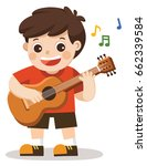 a cheerful boy playing guitar... | Shutterstock .eps vector #662339584
