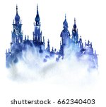 blue watercolor silhouette of... | Shutterstock . vector #662340403