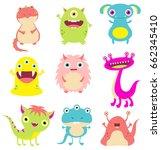 collection of cute cartoon... | Shutterstock .eps vector #662345410