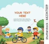 children play outside. cute... | Shutterstock .eps vector #662347009