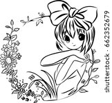 colouring book girl with... | Shutterstock .eps vector #662352679