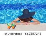 beautiful woman in bikini and... | Shutterstock . vector #662357248