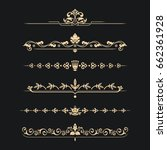 set of calligraphical gold... | Shutterstock .eps vector #662361928