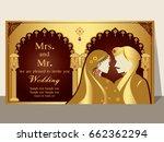 indian wedding invitation card...   Shutterstock .eps vector #662362294