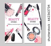 beauty store banner with make... | Shutterstock .eps vector #662363734