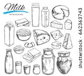 dairy products vector... | Shutterstock .eps vector #662363743