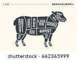 meat cuts. poster butcher...   Shutterstock .eps vector #662365999