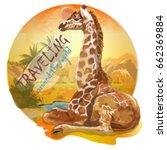 giraffe  in the background of... | Shutterstock .eps vector #662369884