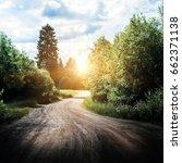 rural road landscape. summer... | Shutterstock . vector #662371138