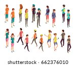 isometric 3d people. young... | Shutterstock .eps vector #662376010