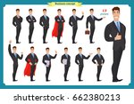 set of businessman presenting... | Shutterstock .eps vector #662380213