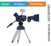 movie camera icon. flat color...