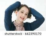 brunette teenage girl wavy hair.... | Shutterstock . vector #662390170