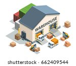 warehouse building  trucks and... | Shutterstock .eps vector #662409544