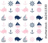cute seamless nautical pattern... | Shutterstock .eps vector #662411530
