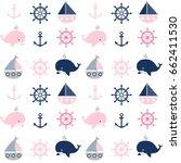 cute seamless nautical pattern... | Shutterstock .eps vector #662411530