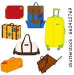 collection of travel bags | Shutterstock .eps vector #662412769