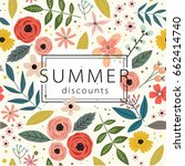 summer sale banner with flowers.... | Shutterstock .eps vector #662414740