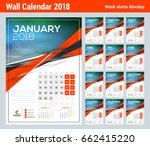 vector calendar template for... | Shutterstock .eps vector #662415220