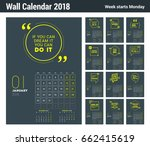 wall calendar template for 2018 ... | Shutterstock .eps vector #662415619