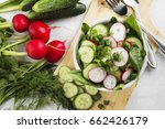 salad with radish  cucumber and ... | Shutterstock . vector #662426179