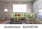 mock up poster frame in... | Shutterstock . vector #662428768