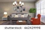 interior living room. 3d... | Shutterstock . vector #662429998