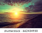 early morning  sunrise over sea | Shutterstock . vector #662434930