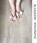 female feet and legs with... | Shutterstock . vector #662445178