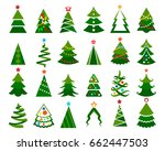 christmas tree vector set.... | Shutterstock .eps vector #662447503