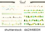 Vector set of forest, park and weather elements, various trees, bushes, grass, flowers, stones, mushrooms, clouds, sun and moon. Nature icon collection, infographic. Flat constructor. Game design | Shutterstock vector #662448034