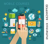 mobile courses concept. vector... | Shutterstock .eps vector #662449930