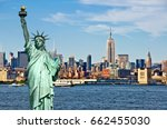 new york skyline and the statue ... | Shutterstock . vector #662455030