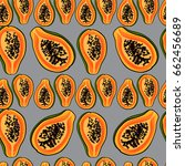 tropical pattern with papaya... | Shutterstock .eps vector #662456689