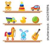 kids toys on wood shop shelves. ... | Shutterstock .eps vector #662459896