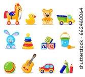 toys set isolated on white... | Shutterstock .eps vector #662460064