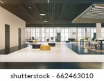office waiting area with yellow ... | Shutterstock . vector #662463010