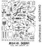 medical doodle line vector set | Shutterstock .eps vector #662465440