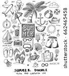 summer doodle line vector set | Shutterstock .eps vector #662465458
