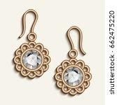 vintage gold jewelry earrings... | Shutterstock .eps vector #662475220