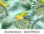 tropical vector seamless floral ... | Shutterstock .eps vector #662478514
