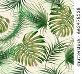 tropical palm leaves  jungle... | Shutterstock .eps vector #662478538