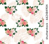 seamless floral pattern with... | Shutterstock .eps vector #662484904